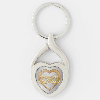 Doppeltes Unendlichkeits-u. Goldherz - Silberfarbener Herz Schlüsselanhänger