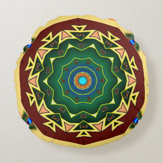 Doppeltes versah Pfau-Kaleidoskop-Kissen mit Rundes Kissen