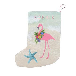 Doppeltes versah rosa Flamingo-Mädchen mit Seiten Kleiner Weihnachtsstrumpf