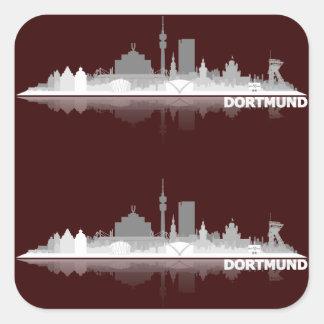 Dortmund City Skyline Quadratischer Aufkleber