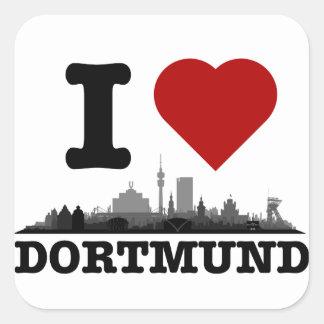 Dortmund City Skyline - sonstige Geschenkideen Quadrat-Aufkleber