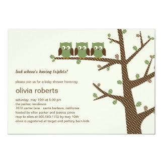 Dotty Eulen-Dreiergruppe-Babyparty-Einladung 12,7 X 17,8 Cm Einladungskarte
