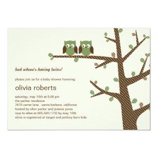 Dotty Eulen-Zwillings-Babyparty-Einladung 12,7 X 17,8 Cm Einladungskarte
