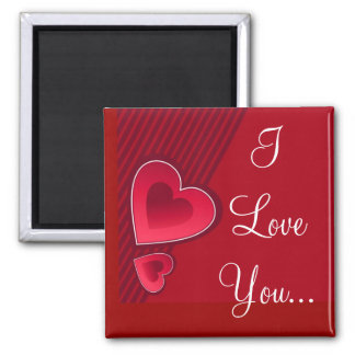 Double Hearts I Love You Refrigerator Magnet