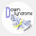 Down-Syndrom SCHMETTERLING 3,1 Runder Aufkleber