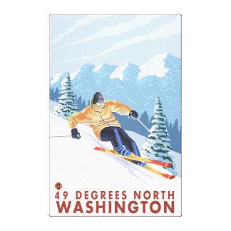Downhhill Schnee-Skifahrer - 49 Grad Nord, WA Leinwanddruck