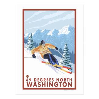 Downhhill Schnee-Skifahrer - 49 Grad Nord, WA Postkarte