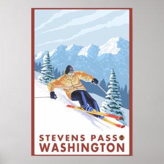 Downhhill Schnee-Skifahrer - Stevens-Durchlauf, Plakate