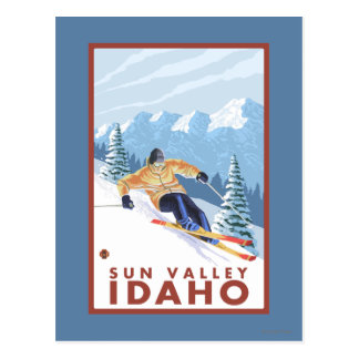 Downhhill Schnee-Skifahrer - Sun Valley, Idaho Postkarte