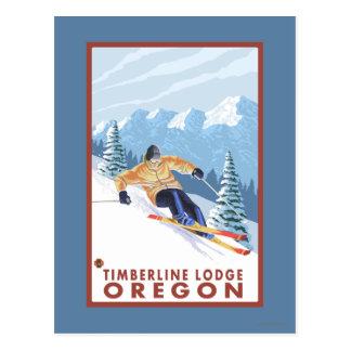 Downhhill Schnee-Skifahrer - Timberline-Häuschen, Postkarte