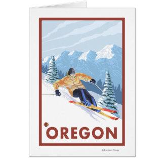 Downhhill Schnee Skifahrer Vintages Reise-Plakat 2 Karte