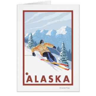 Downhhill Schnee Skifahrer Vintages Reise-Plakat Karte
