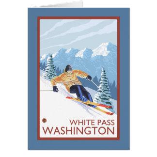 Downhhill Schnee-Skifahrer - weißer Durchlauf, Karte