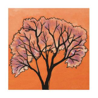 DP183 orange und lila Baum Holzdruck