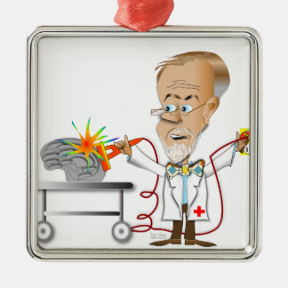 Dr. Braino Quadratisches Silberfarbenes Ornament