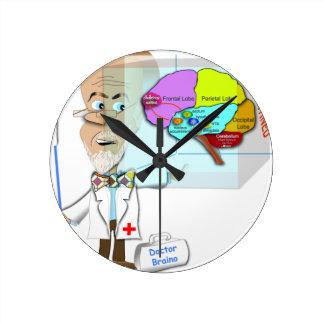 Dr. Braino Quarantines ein Gehirn Runde Wanduhr