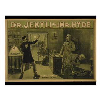 Dr. Jekyll und Theaterplakat 1880 Herr-Hyde Postkarte