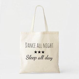 Draagtas Schoudertas citaat dansen nacht slapen Tragetasche