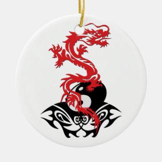 Drache 40 yin Yang Rundes Keramik Ornament