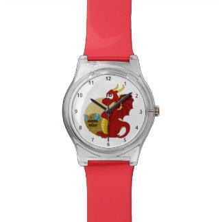 Drache-Cartoonuhr Uhr