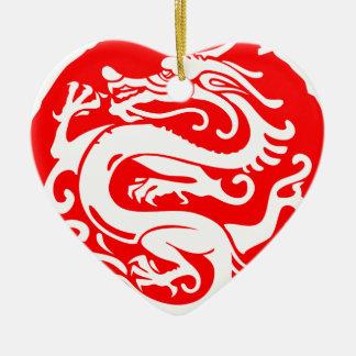 Drache-China Chinaelemente Keramik Herz-Ornament
