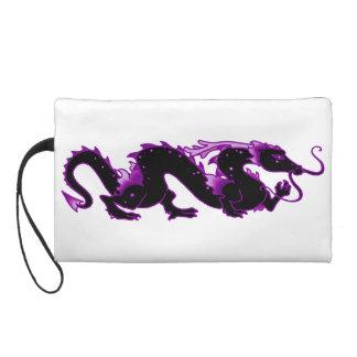 Drache-Drache-Schwarzes und Lila Wristlet Handtasche