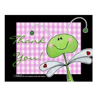 Drache-Fliege auf rosa Gingham Postkarte
