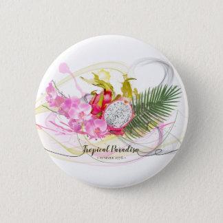 Drache-Frucht-und rosa Orchideen-tropische Runder Button 5,7 Cm
