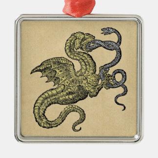 Drache gegen Schlange Silbernes Ornament