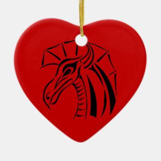 Drache-Herz-Verzierung mit Haube Keramik Ornament