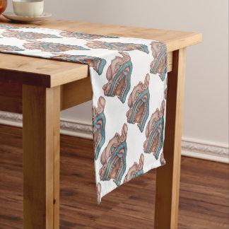 Drache-Hund (Pastellrosa und Blau) Kurzer Tischläufer