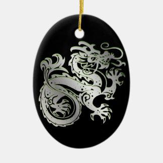 Drache-Ikone - grünes Silber auf Schwarzem - 1 Keramik Ornament