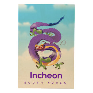 Drache Incheons Südkorea Holzdruck