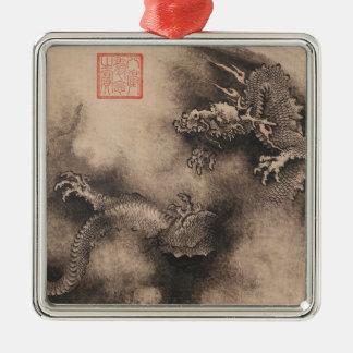 Drache-Jahr-chinesische Tierkreiszeichen Silbernes Ornament