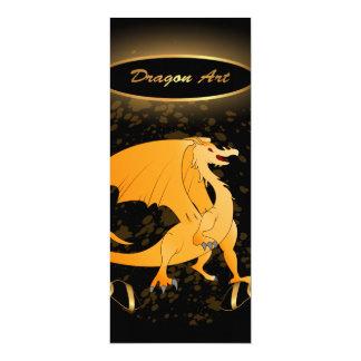 Drache-Kunst, lustiger goldener Drache 10,2 X 23,5 Cm Einladungskarte