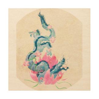 Drache Lotus, hölzerne Wand-Kunst Holzwanddeko