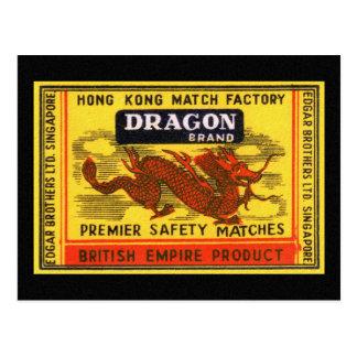 Drache-Marken-Vintager Sicherheits-Match-Aufkleber Postkarte