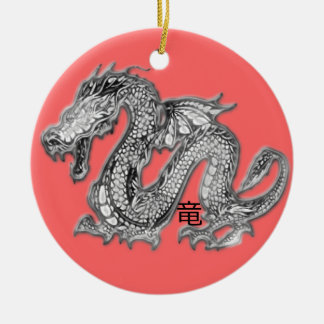 Drache - Ryuu Kanji Rundes Keramik Ornament