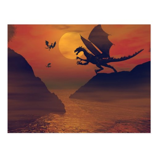 Drache-Sonnenuntergang-Postkarte