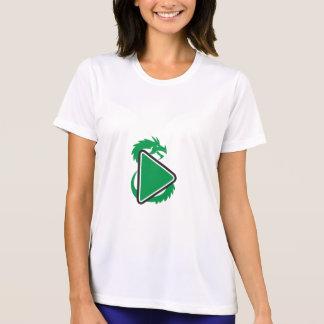 Drache-Spiel-Knopf-Seite Retro T-Shirt