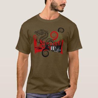 Drache-Stadt-Grafik-T-Stück T-Shirt