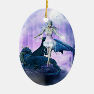 Drache und Fee Keramik Ornament
