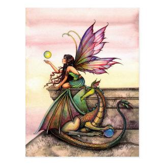 Drache-und Fee-Kunst-Postkarte durch Molly Postkarte