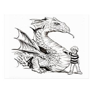 Drache und Junge Schwarzweiss Postkarte