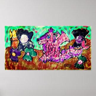 Drache und Perle Poster