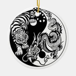 Drache und Tiger yin Yang-Symbol Keramik Ornament
