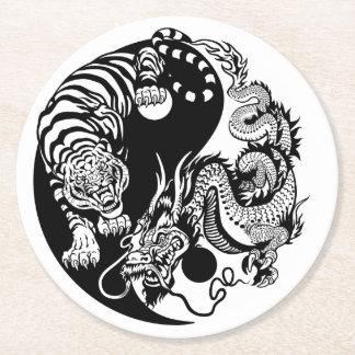 Drache und Tiger yin Yang-Symbol Runder Pappuntersetzer