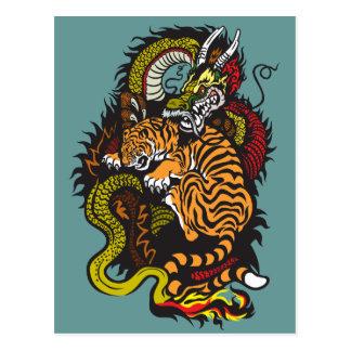 Drache- und Tigerkampf Postkarte