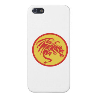 Drache-Wasserspeier-duckender Kreis Retro iPhone 5 Case