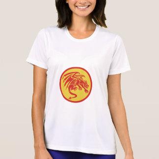 Drache-Wasserspeier-duckender Kreis Retro T-Shirt